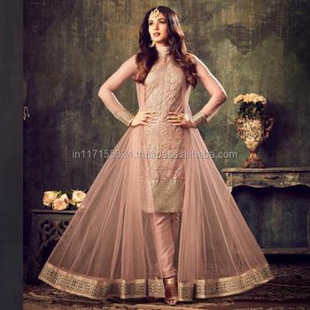 913c240fb2 Peach Net Reception Wear Embroidery Work Anarkali Style - Buy Party ...