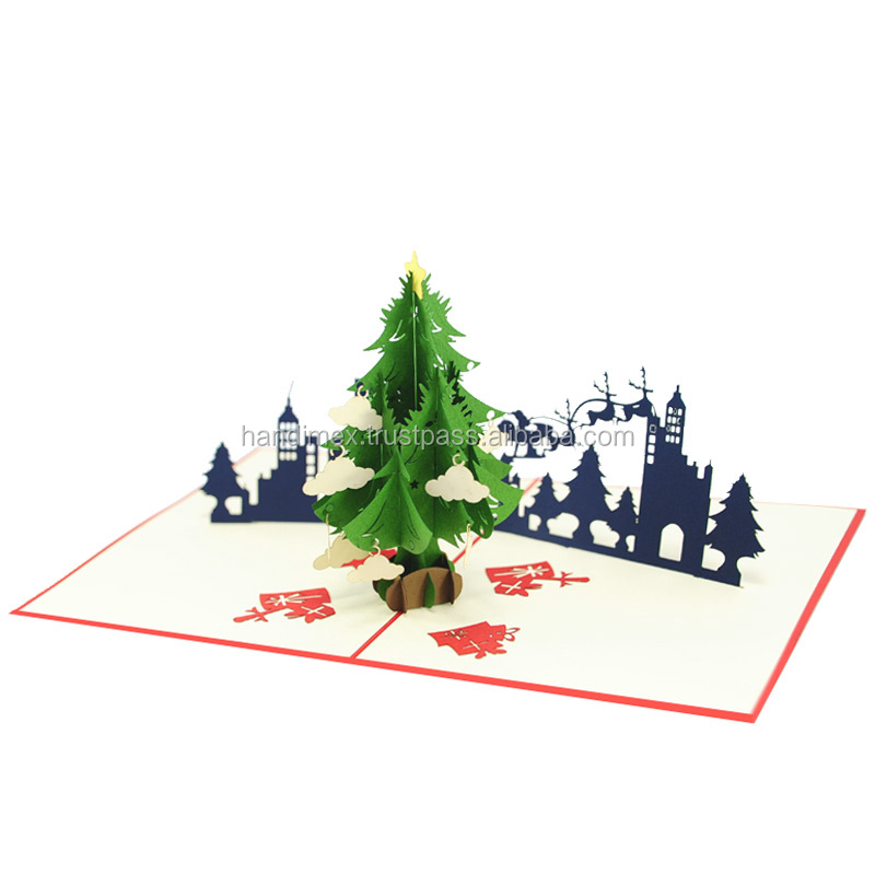 Snowflakes Christmas pop up card and 3d Xmas tree handmade greeting ...