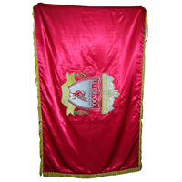 Custom Liverpool 8' x 5' Hand made Bullion Embroidered pole Flags with gold Fringes