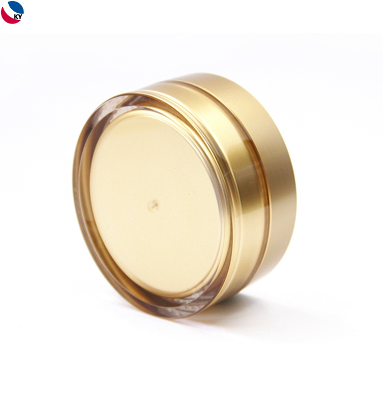 Acrylic cosmetic packaging plastic cream jar with gold screw cap