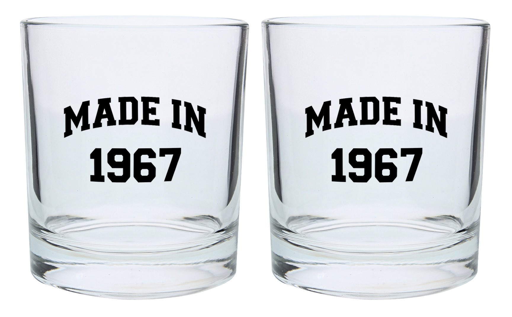 50th Birthday Gifts for Dad Mom Made in 1968 Funny 50th Birthday Party Supplies Gift Lowball Glasses 2-Pack Round Lowball Tumbler Set Black