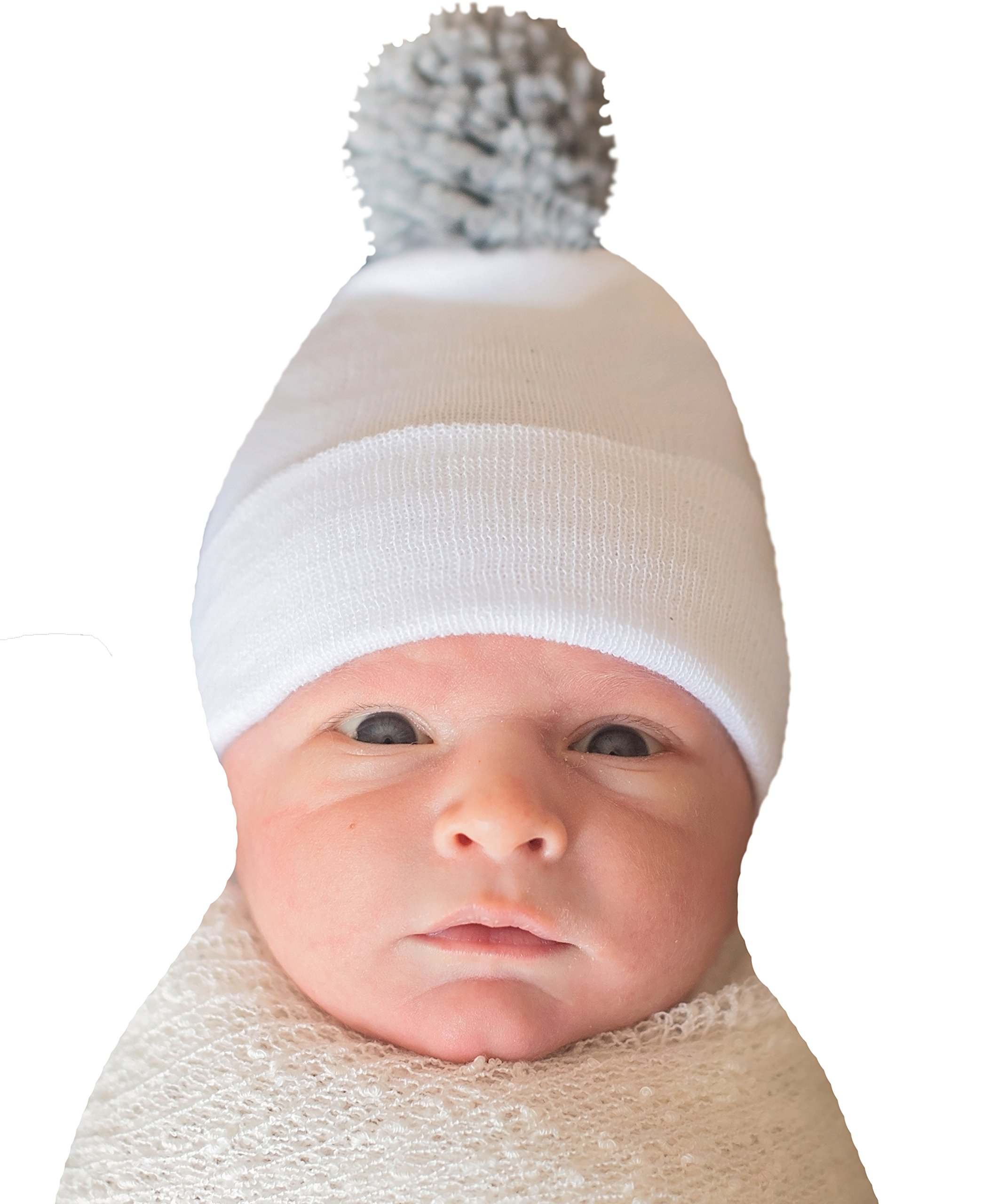 cce0c88912f7e Get Quotations · Melondipity White Hospital Hat with Grey Pom Pom Newborn  Boy Hospital Hat