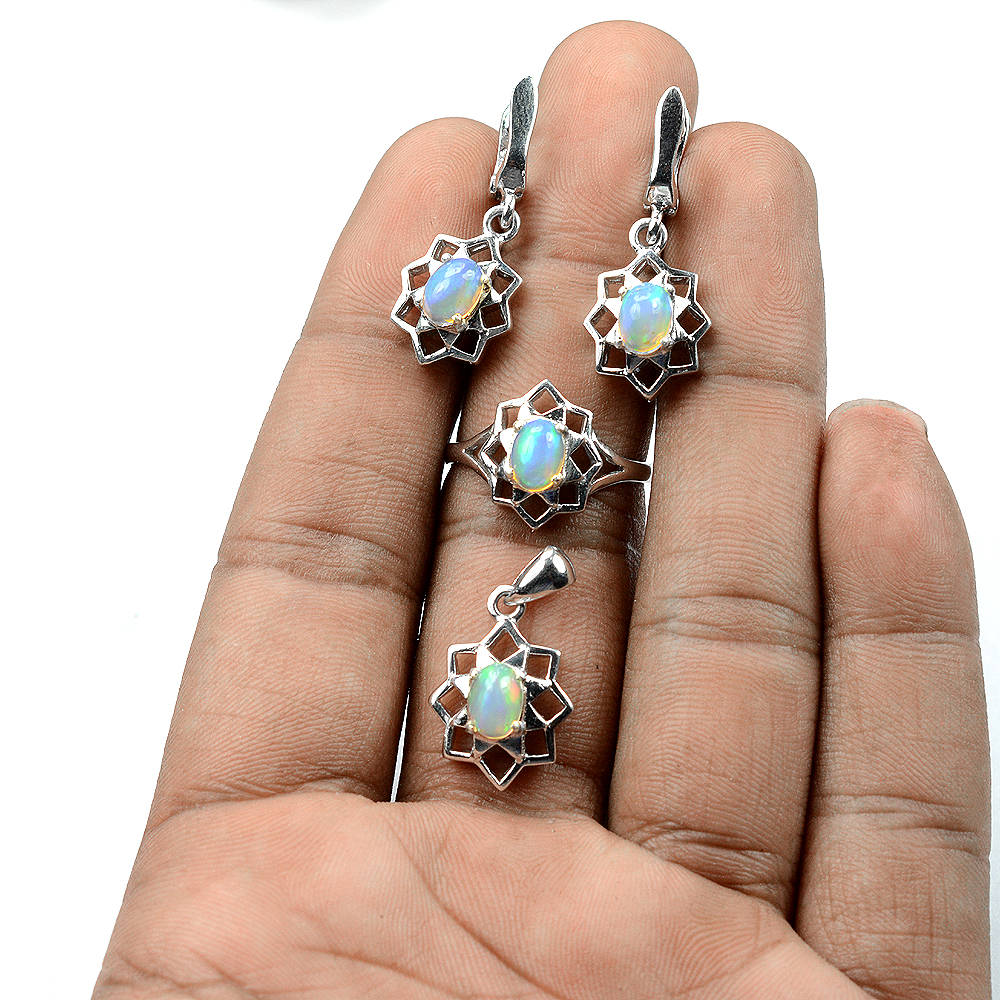 Natural 7x5 8x6 MM Rainbow Fire Luster Opal 925 Sterling Silver Fine Set