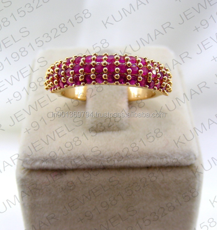 Sleek Simple Daily Wear Girlish CZ Ruby Color Stone Gold Plated Ladies Single Stone Classy Finger Ring Online
