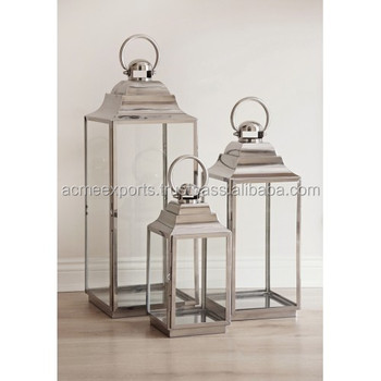 Metal Lantern With Candle Use in Stainless Steel With very High Quality Silver Mirror Polished