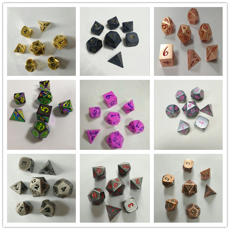 12 sided d4 d6 d8 d10 d12 d20 poliedrici metallo dice