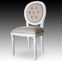 White Distressed Oval Back Dining Chair - Indonesian furniture