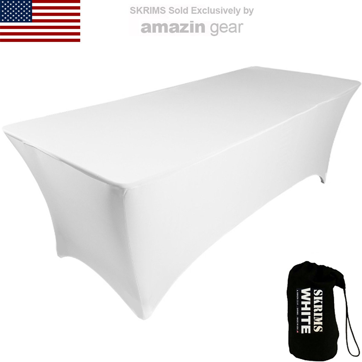 Amazin Gear SKRIMS PRO DJ Table Scrim Cover, 4' WHITE Stretch Spandex Tablecloth w/Cable Holes +FREE Bag, Ideal Glow LED Light Effect