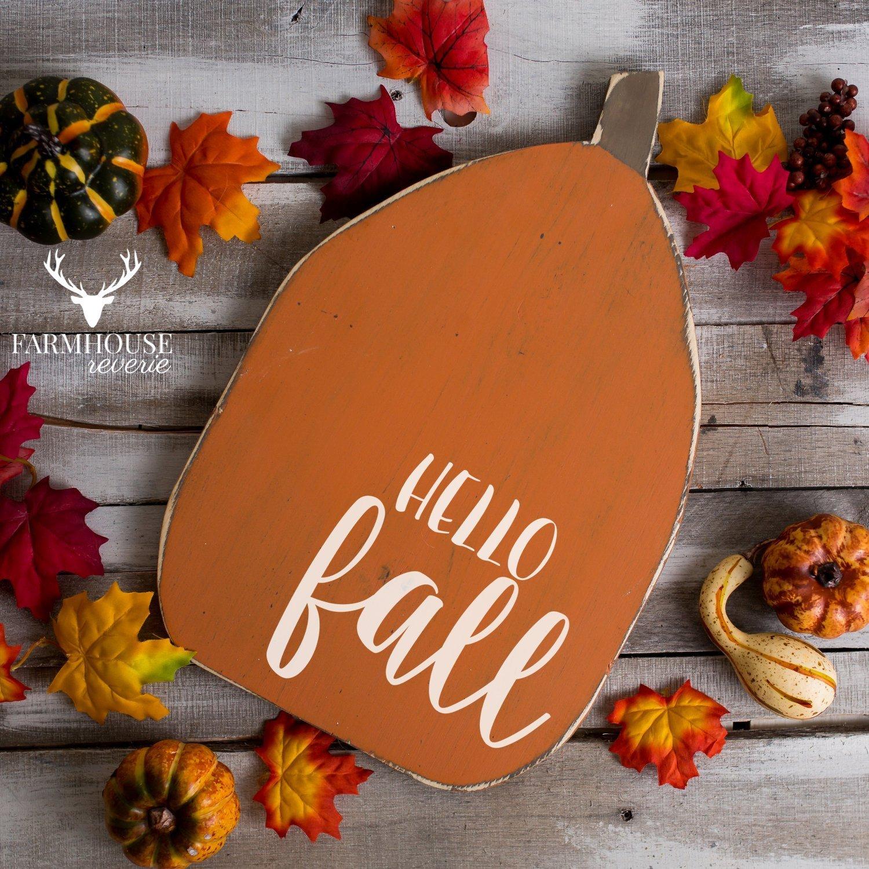 Hello Fall Pumpkin Sign | Rustic Pumpkin Sign | Rustic Fall Decor | Rustic Fall Signs | Farmhouse Fall Decor | Fall Pumpkin Signs | Farmhouse Fall Decor | Farmhouse Hello Fall Sign | Farmhouse Pumpkin