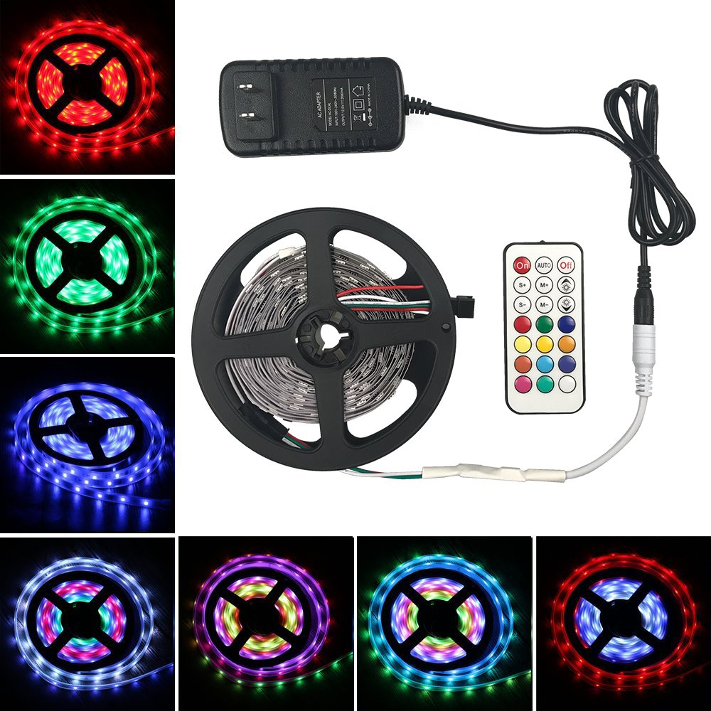 Aifulo Led Strip Lights Kit 5M/16.4Ft 5050 SMD RGB 150 LED Tape Light 2811 IC Magic Dream Color Lights with Remote Control and 12V 2A Power Supply Adapter for Home Lighting, Christmas Festival Party