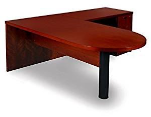 """Mayline L Shaped Desk W/Wood Veneer 72""""W X 84""""D X 29 3/8""""H Desk: 72""""W X 36""""D Return: 48""""W X 24""""D Perfect For Home Office/Business - Medium Cherry"""