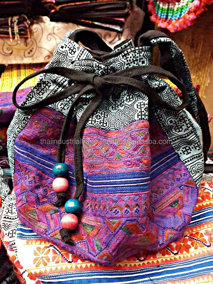 New Arrival Hmong Hill Tribe Bags Thailand handmade Shoulder Bags Boho Ethnic Bucket Bag Wholesale