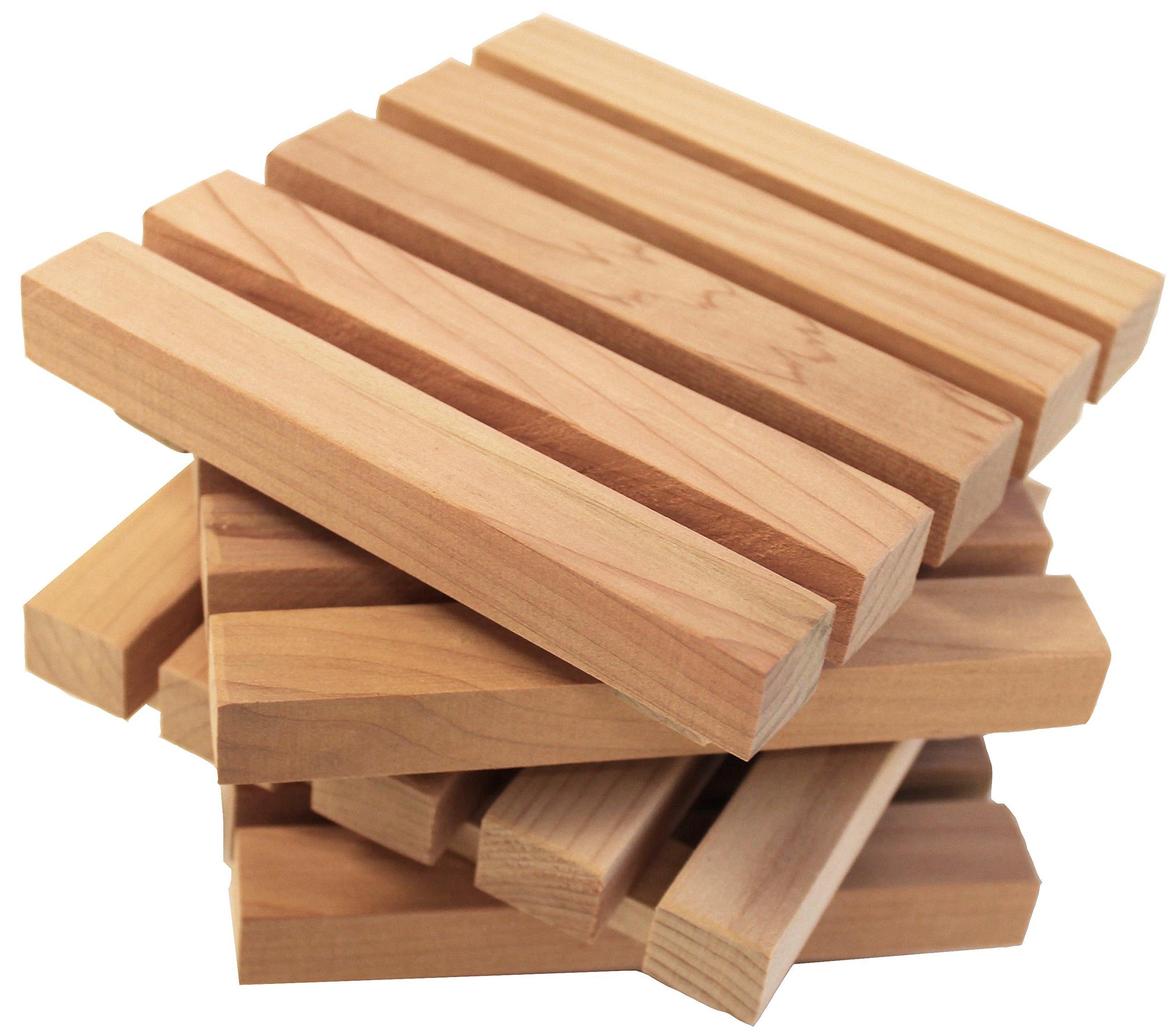 """Wood Block Crafts - Natural Cedar Pallet Wood Coaster Set - Rustic Coasters for Drinks - Protects Furniture From Wet Glass Bottle Stains - Cedar Wood Cute Pallet Design - Large 5"""" Square - Set Of 4"""