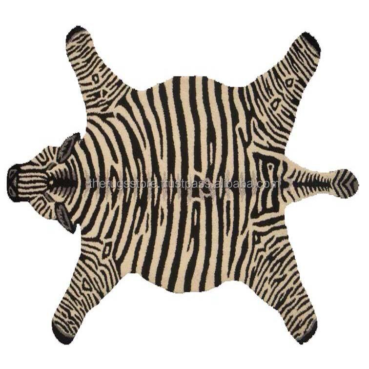 Zebra Skin Shape Hand Tufted Wool Area