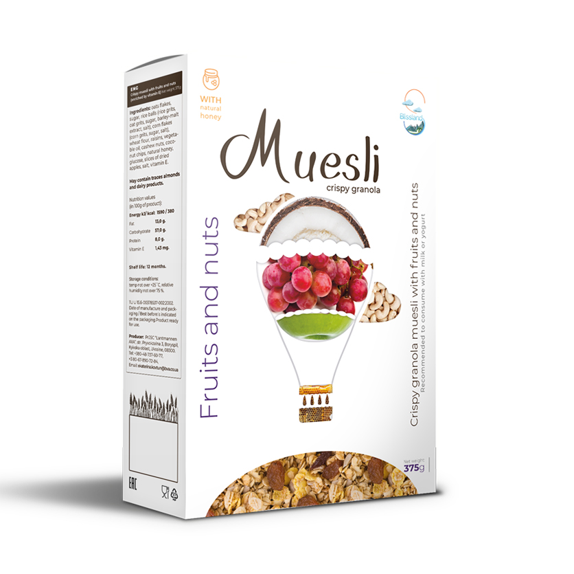 Crispy muesli with fruits and nuts breakfast cereal granola