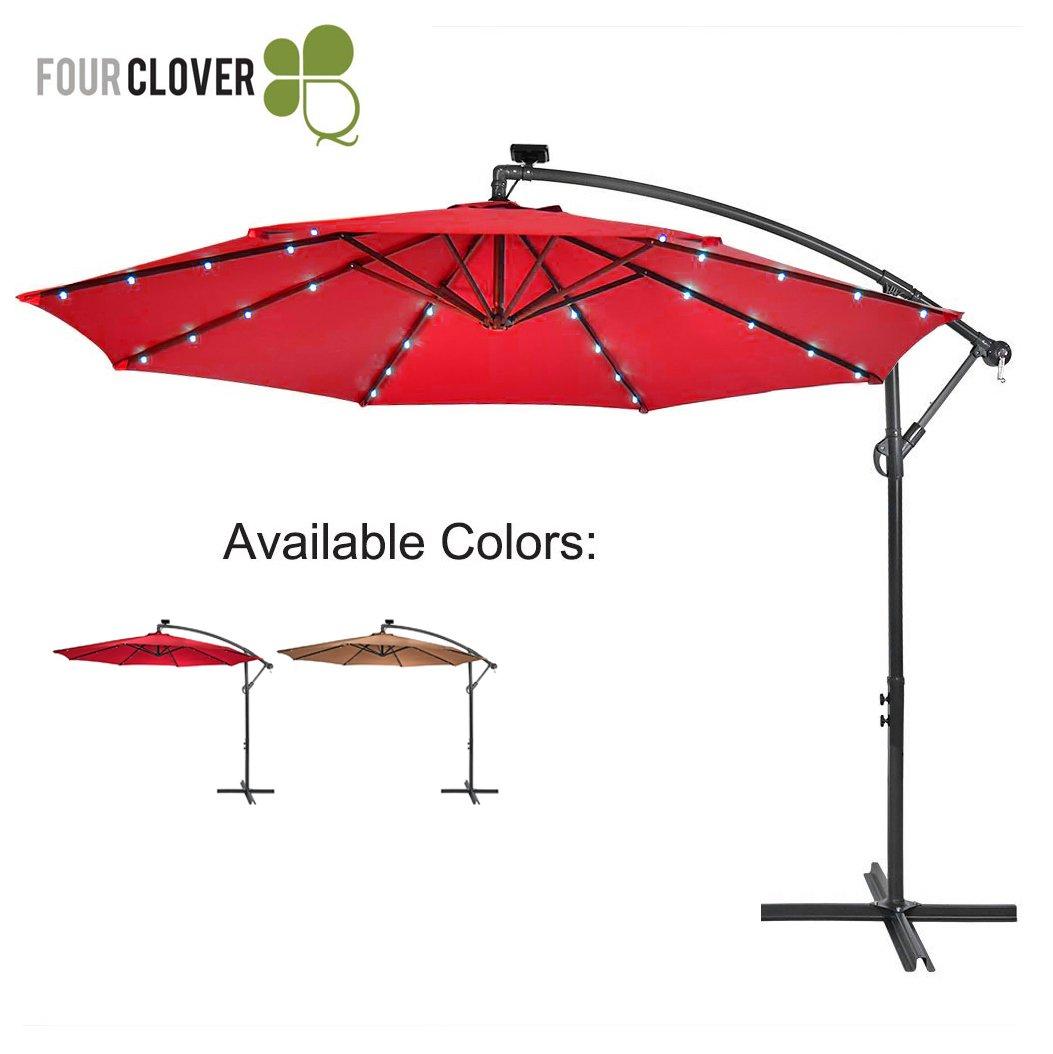 FOUR CLOVER 10 Ft Deluxe Solar 32 LED Lighted Patio Umbrella Offset Hanging Umbrella Outdoor Market Umbrella Garden Umbrella, 250g/sqm Polyester, with Cross Base and Crank (Red)