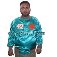 Miami Green Satin Raglan Varsity Jackets, Custom Chenille Embroidery Satin Baseball Jackets, Satin Bomber Jackets