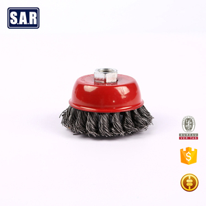 Narrow Face Wire Wheel Brush Round Carbon Steel Crimped metal polishing brush
