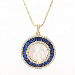 Deep Blue Zircon Necklace Real Gold Plated New Design Brass Women Necklace