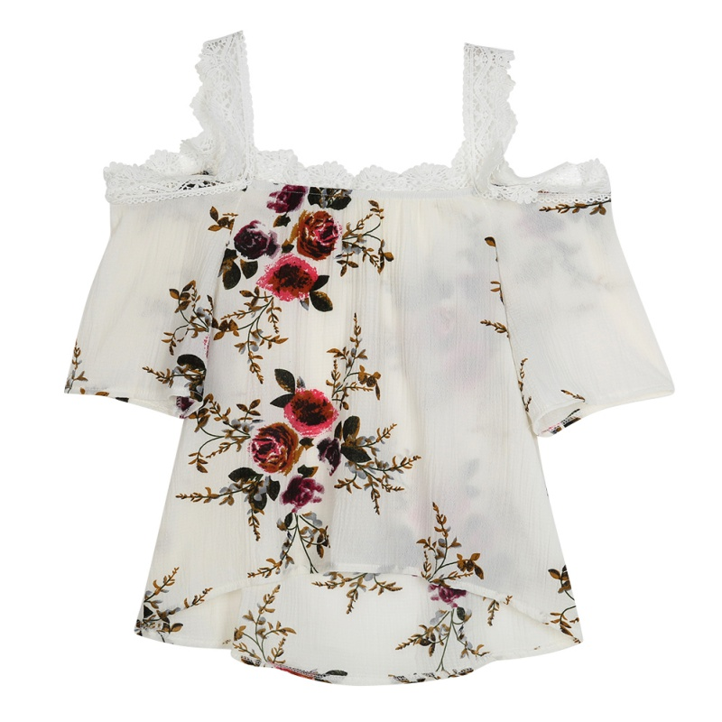 <strong>Lace</strong> Flower Print <strong>Blouses</strong> For Womens Elegant Open Shoulder <strong>Blouses</strong> Women XXL Female Tops 2019
