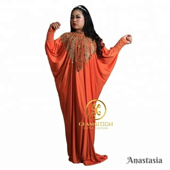 #GKCcatalog GKC Anastasia Drapper Orange Gold Beads African Abaya Dubai Moroccan Kaftan Dress from Supplier Indonesia