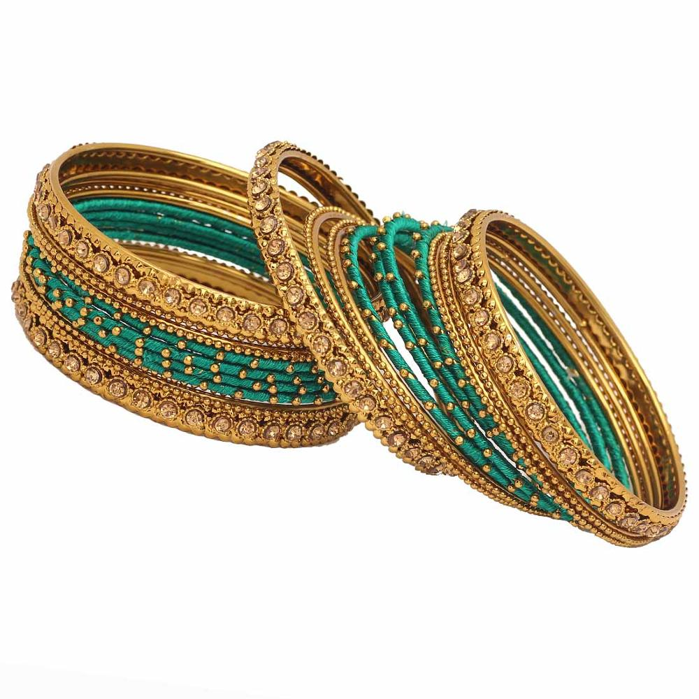 metal green red elegant golden bangles stone with studded bang