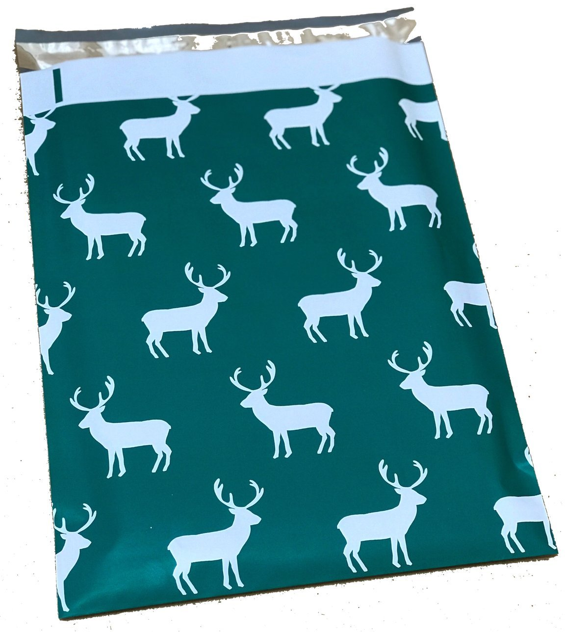 Poly Mailers Deer Designer Poly Mailers Custom Bags Green & White Shipping Envelopes Plastic Bags #SmileMail (100 10x13)