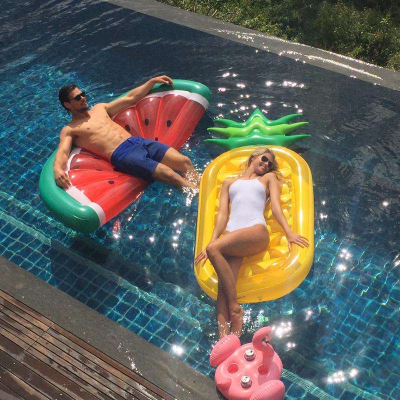 Water Fun Air Filled Pineapple Swim Giant Inflatable Raft