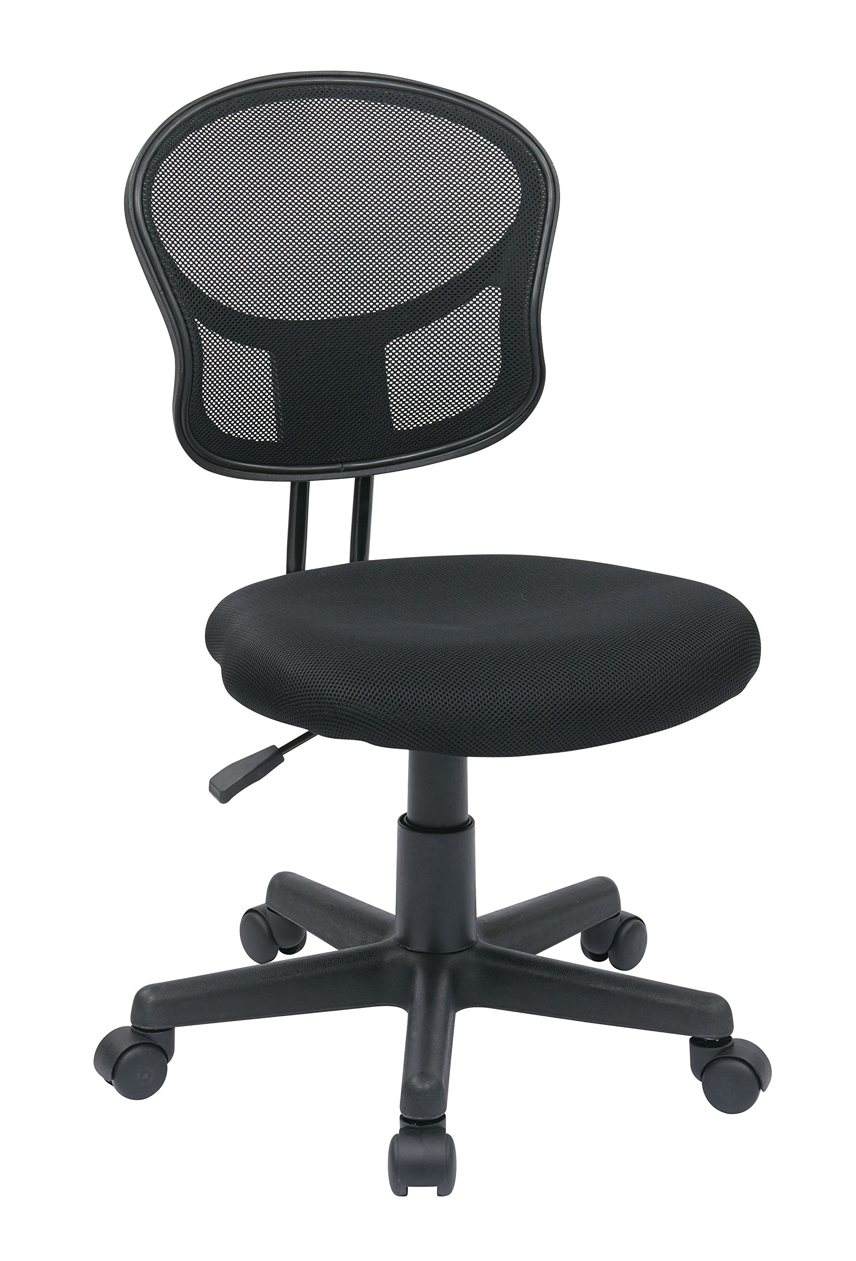 Office Star Mesh Back Armless Task Chair with Padded Fabric Seat, Black