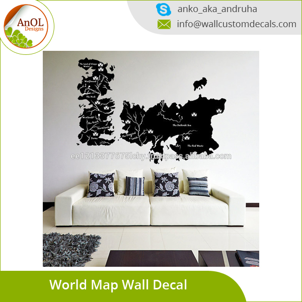 Vinyl Wall Decal World Map Game Of Thrones With Castles Buy Vinyl