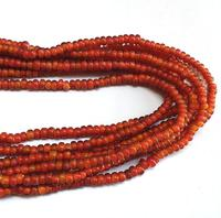"Glass Beads Red Rondelle Red White Heart Size 5x3mm, Hole 1.5mm, Sold Per Strand of 16"" 120 Beads"
