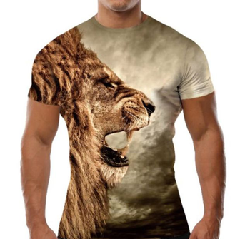 f8439f6c lion Fashion digital printing 3D Cheap Men's Custom Printed Round Neck Mens  T Shirt pakistan