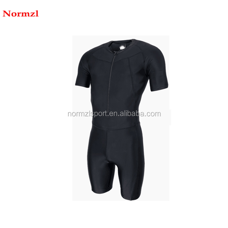 male custom speed skating suit comfortable black short sleeve new design