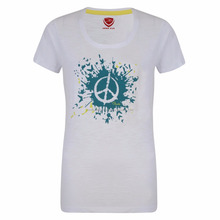 Women white 100% Cotton t-shirt with custom print manufacture by Hawk Eye Co.