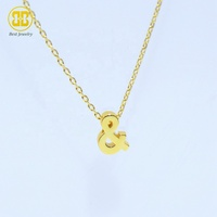 Best Jewelry Amazon Hot Sale 925 Sterling Silver 18K Gold Plated Accessories Dainty Chain Chore Ampersand Necklace