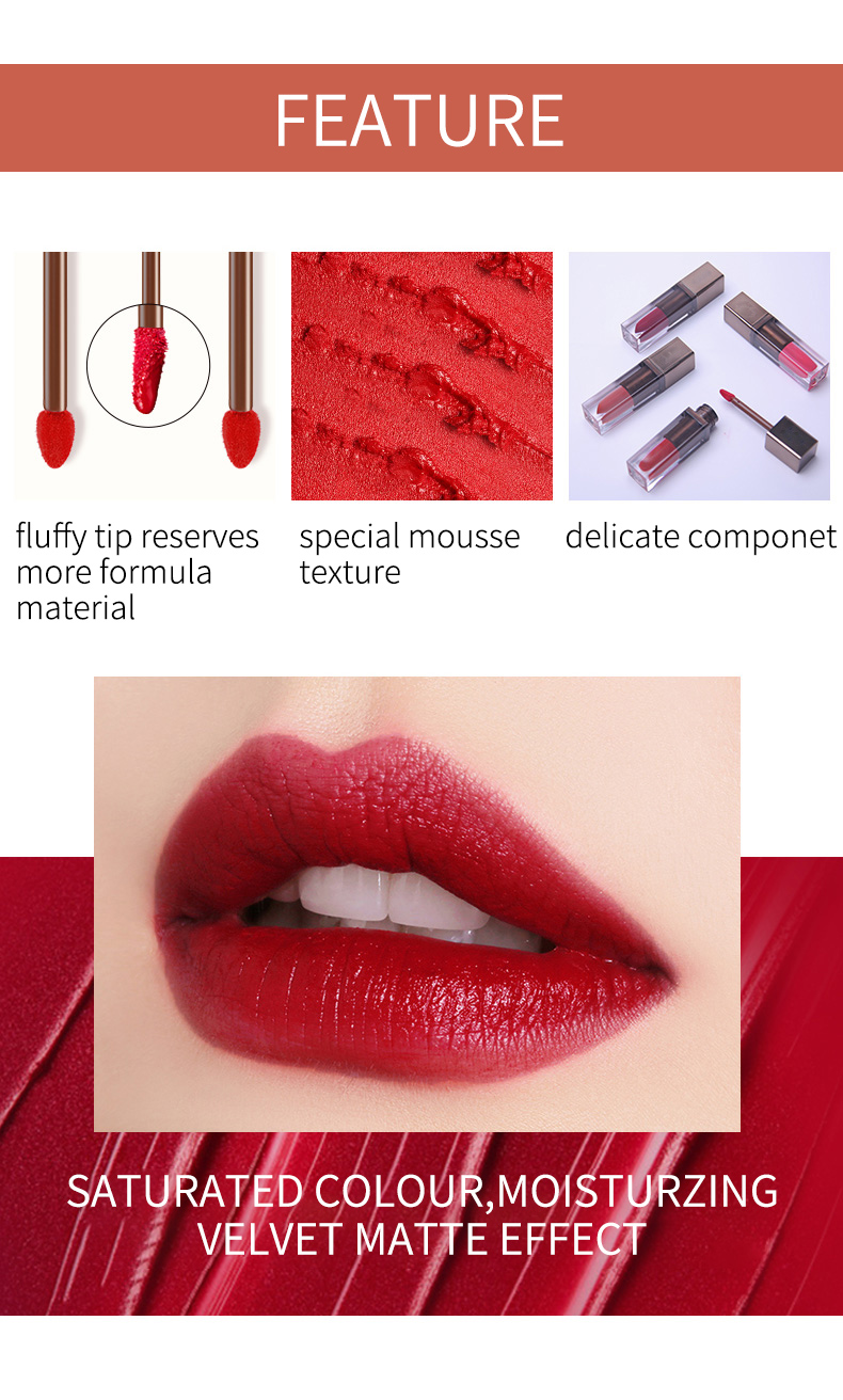 Custom Private Label Matte Lip Gloss Mousse Texture Lip Gloss Velvet Liquid Lipstick Matte Lipgloss