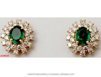 koop goed nu kopen klassieke stijl Center Royal Emerald Diamond Tops Oorbel - Buy Green Emerald  Oorbellen,Ronde Emerald Oorbellen,Real Diamond Oorbellen Product on  Alibaba.com