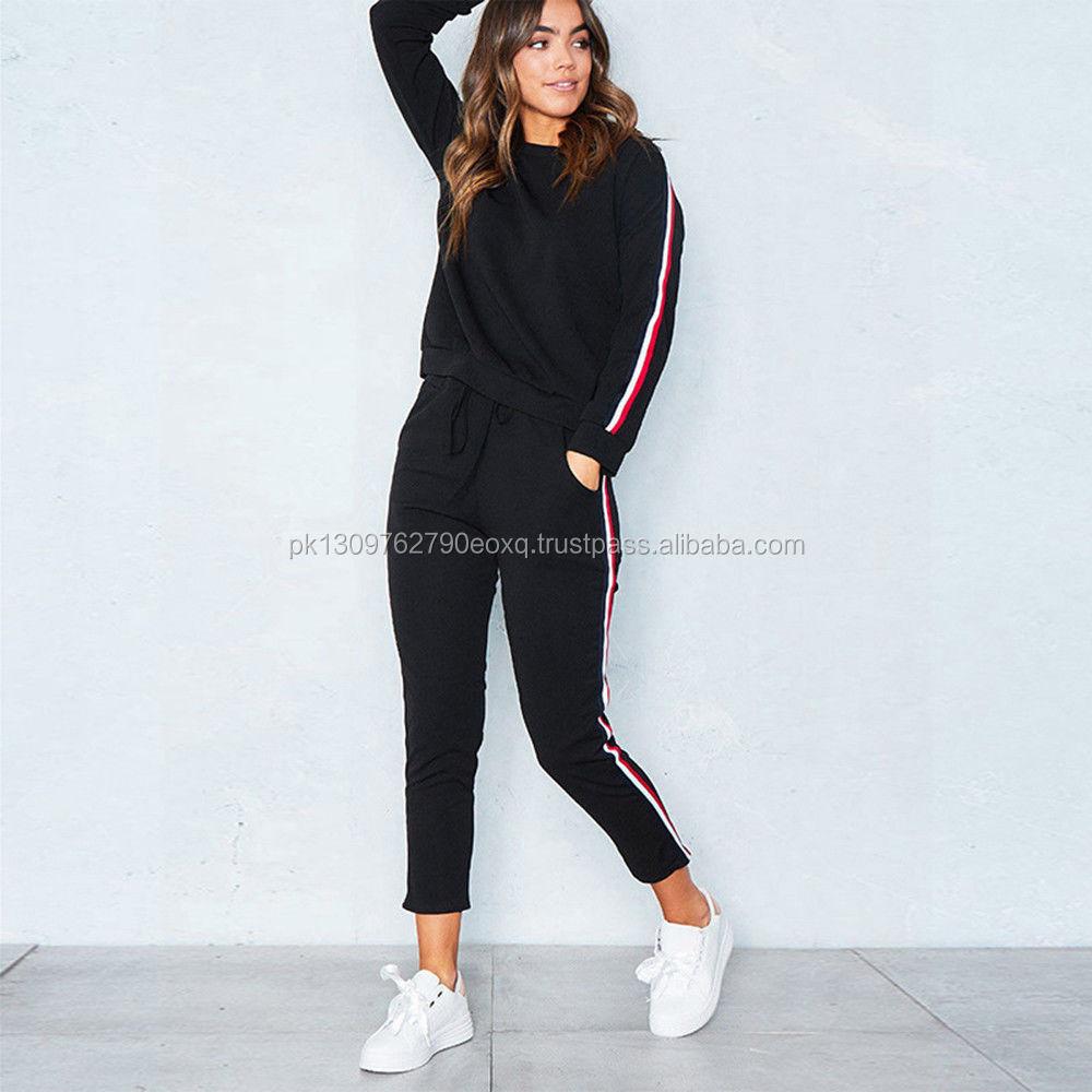 5d1f9c808c0ca wholesale gym wear women running suits Ladies plain tracksuit Custom Women  Tracksuits