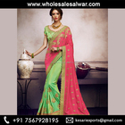 Pink Satin Silk Wedding Wear Embroidery Work Saree - Satin Silk Sarees Wholesale Collection