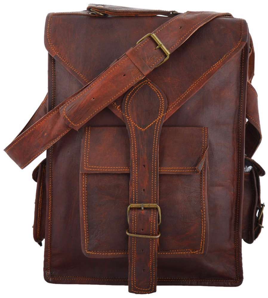 Indian Hand Made Brown Color Unique Messenger Long Shape Satchel Leather Bag Le 23