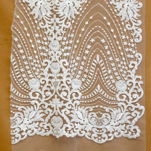New embroidered beaded fabric white bridal lace material