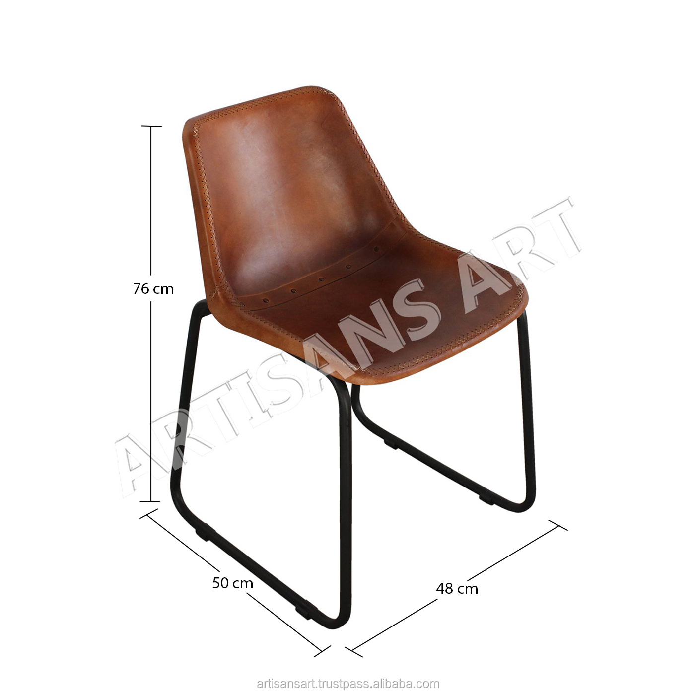Dinand Leren Stoelen.Industrial Leather Dining Chair Leather Cafe Chair Vintage