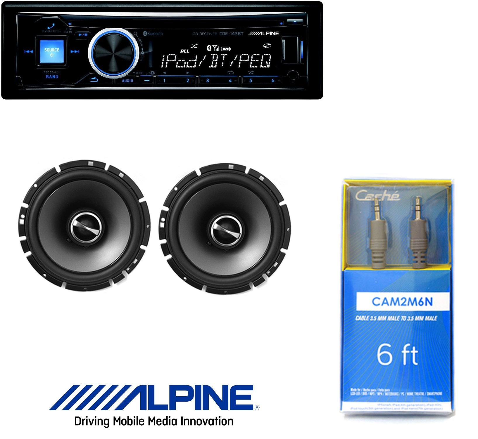 """Alpine CDE-143BT Advanced Bluetooth CD Receiver W/ Alpine SPS-610 6.5-Inch 2-Way Type-S Series Coaxial Car Speakers And 6ft CAM2M6N Cable 1/8"""" Mini Stereo to Cable 1/8"""" Mini Stereo Cable"""