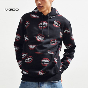 MGOO All over printing vintage oversized hoodie Customized sublimation mouth fleece pullover hoodie