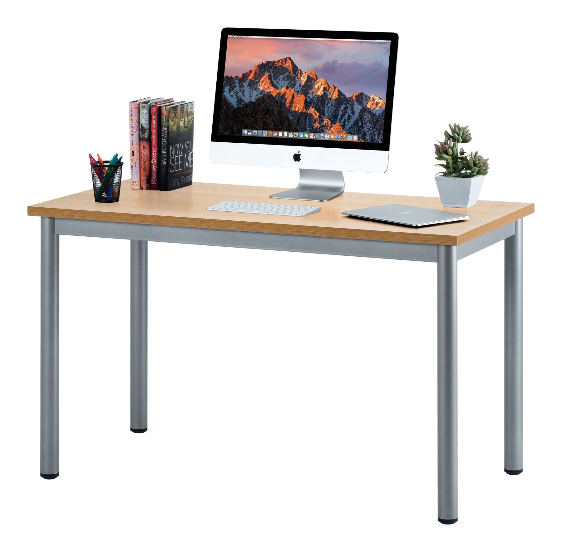 "Fineboard 47"" Home Office Computer Desk Writing Table, Beige/Gray"