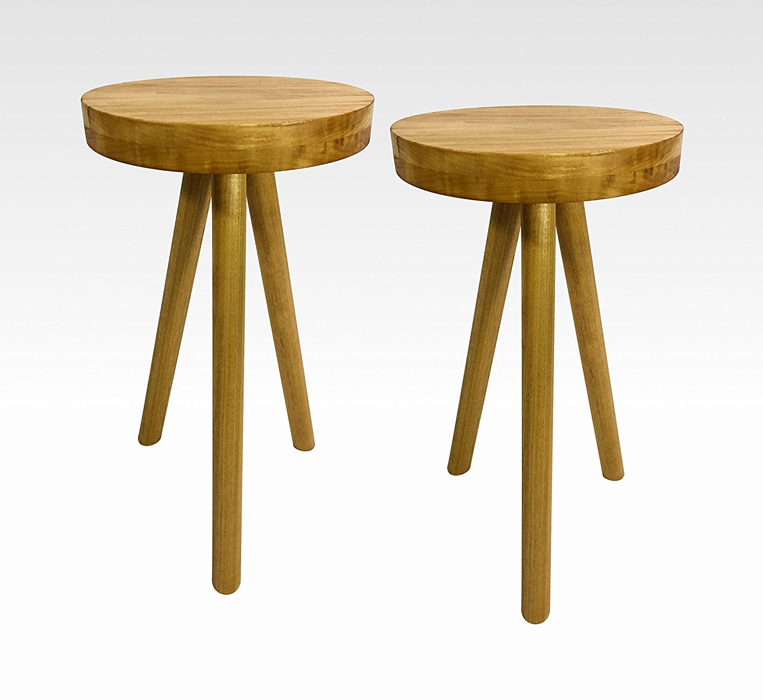 Modern Pair of Side Tables in Honey by Candlewood Furniture End Table Bar Stool, Bedside Table, Nightstand, Wood