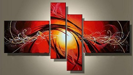 Ode-Rin Art Christmas Gift Hand Painted Abstract Oil Paintings Fiery-red Ribbons 4 Panels Wood Framed Inside For Living Room Art Work Home Decoration