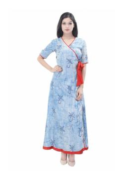 Traditional Hand block printed long dress cotton batik fabric long kurti for women