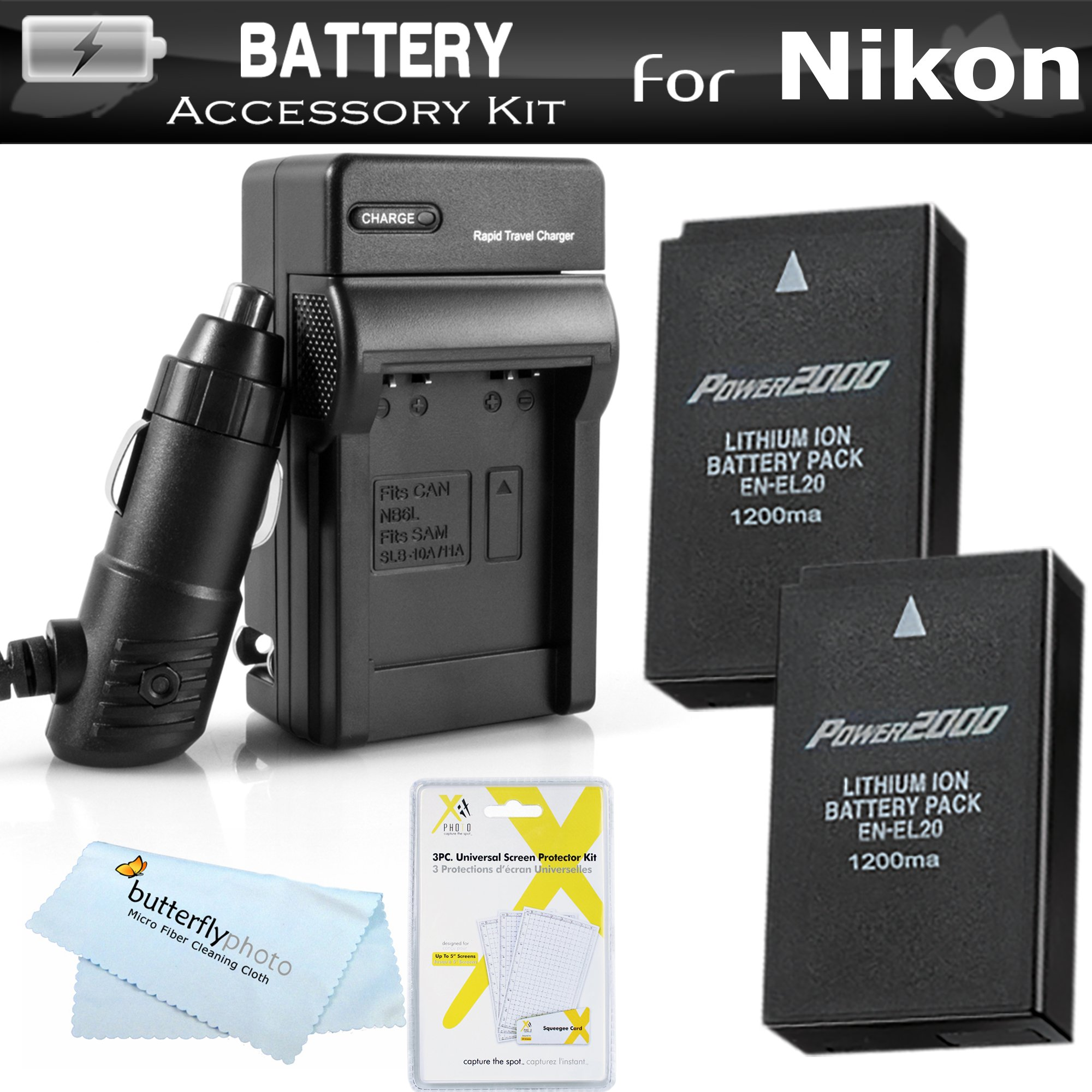 CoolPix A AC//DC Turbo Charger with Travel Adapter A1W1 1 V3 Camera /&More 2 EN-EL20 Batteries Complete Deluxe Starter Kit f//Nikon Coolpix 1 J3
