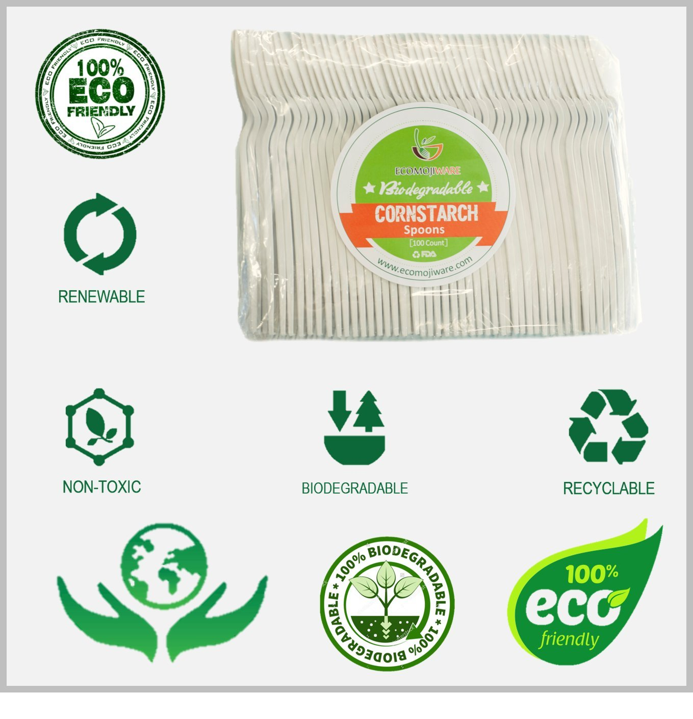 Disposable Cutlery & Flatware - by EcoMojiWare.com - Certified Compostable Recycled Cutlery, Birthday, BBQ, Party Supplies - kitchen cutlery, combo set (100 count), Heavy Duty Corn Starch (Spoons)